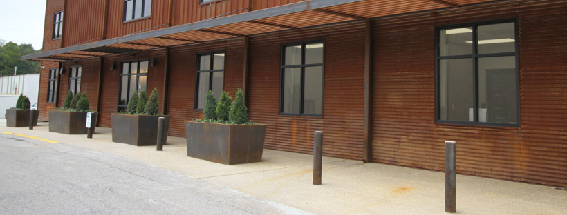 Weathering steel planter boxes
