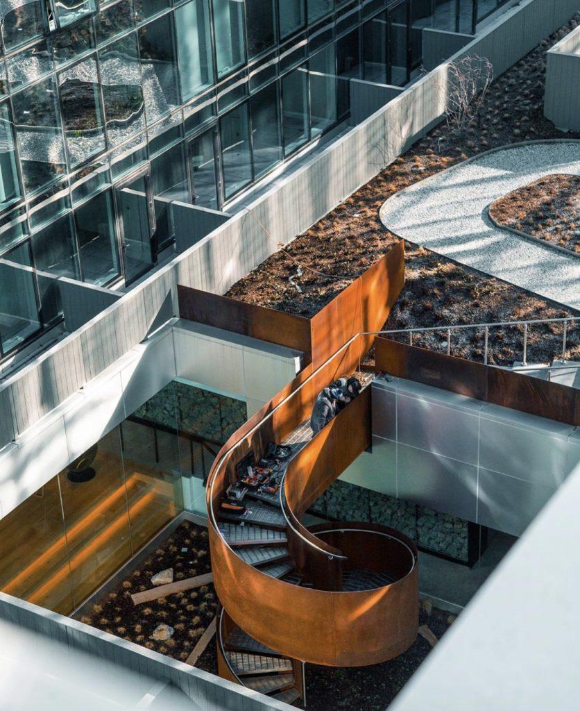 corten steel spiral staircase