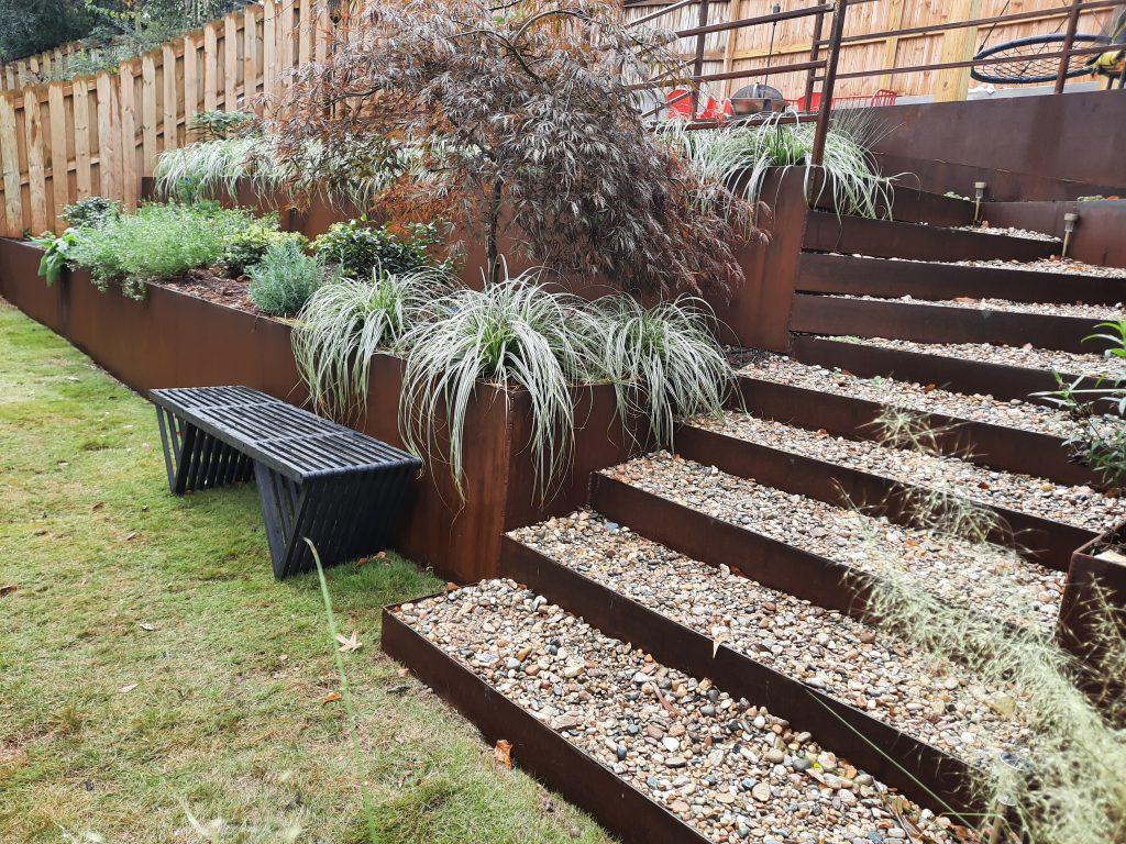 Weathering steel raised garden