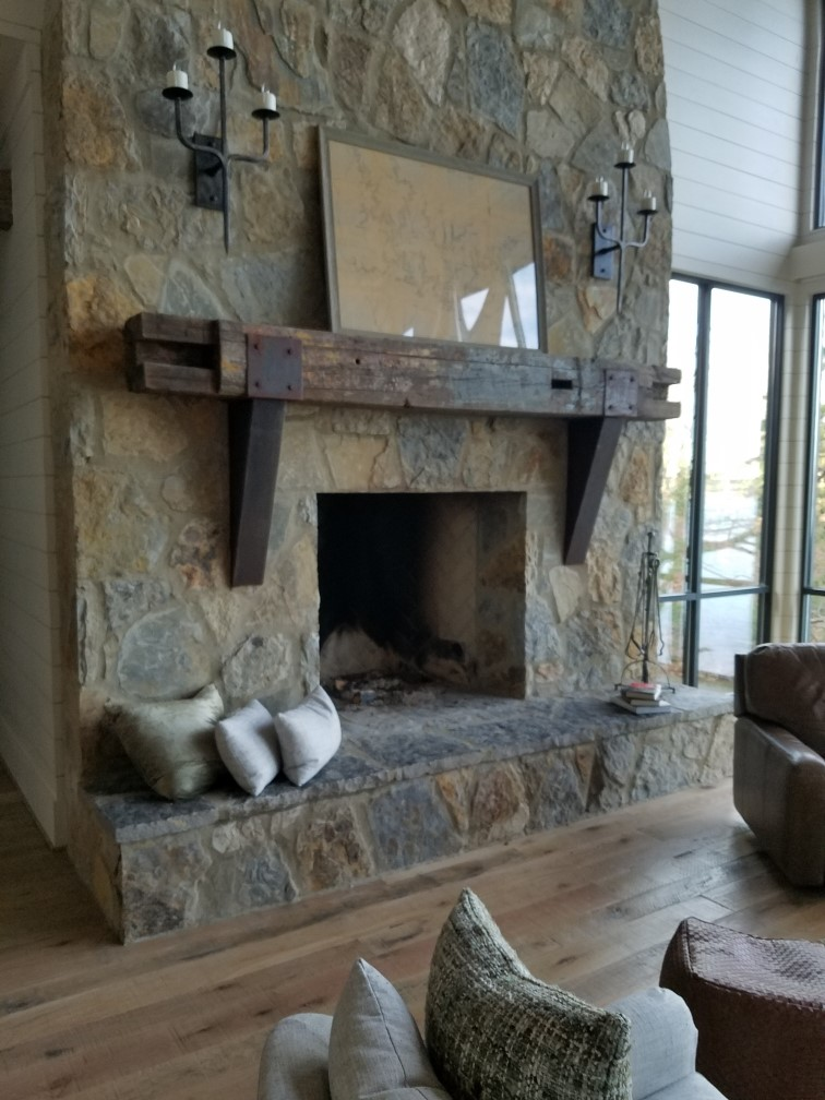 Weathering steel fireplace